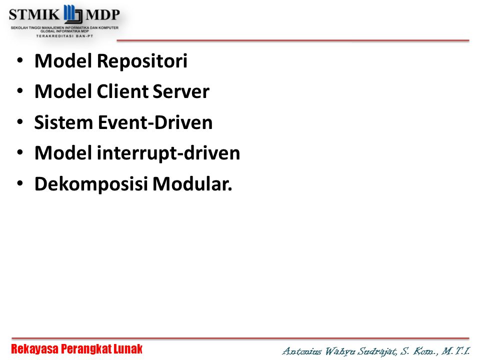 Model Repositori Model Client Server. Sistem Event-Driven.