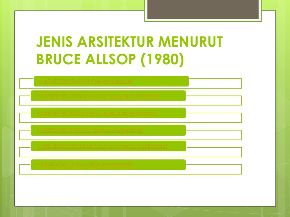 JENIS ARSITEKTUR MENURUT BRUCE ALLSOP (1980)