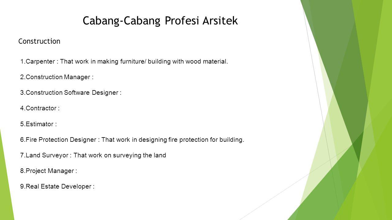 Cabang-Cabang Profesi Arsitek