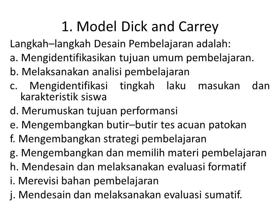 1. Model Dick and Carrey Langkah–langkah Desain Pembelajaran adalah: