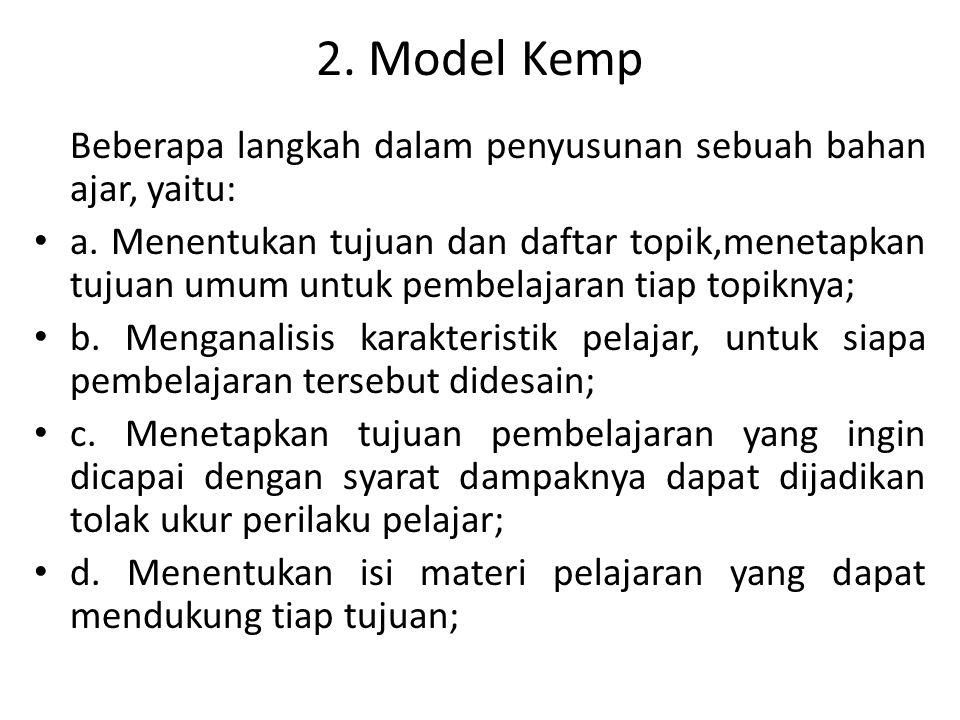 2. Model Kemp Beberapa langkah dalam penyusunan sebuah bahan ajar, yaitu: