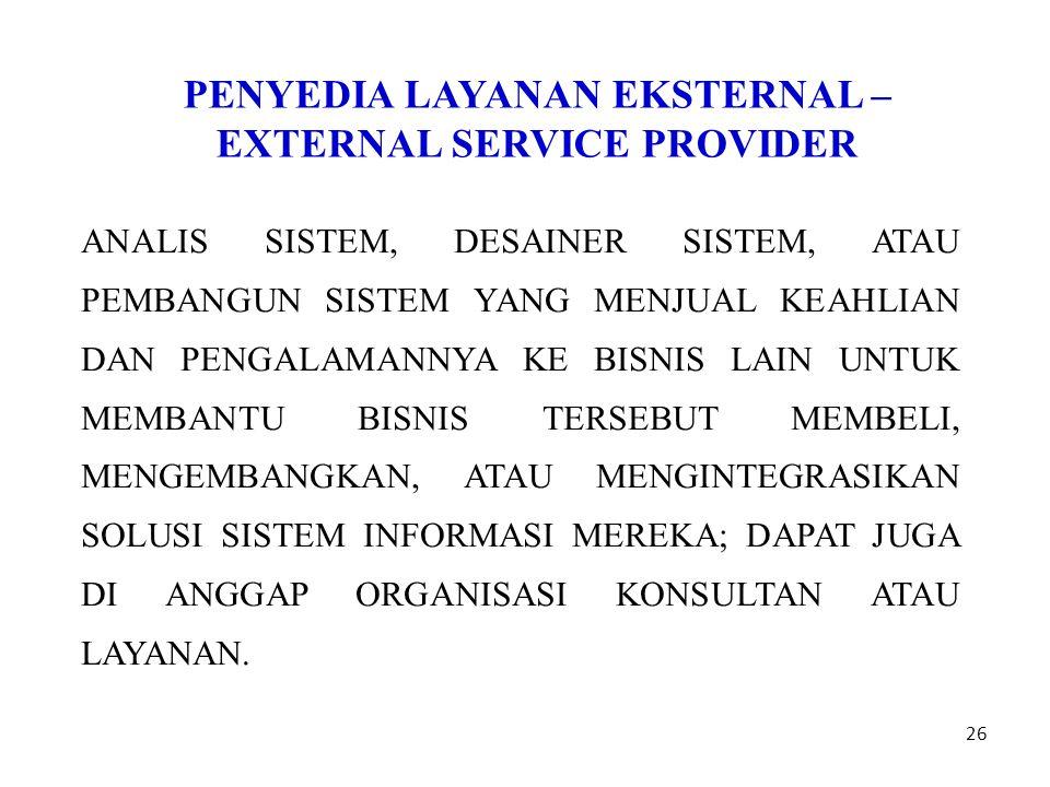 PENYEDIA LAYANAN EKSTERNAL – EXTERNAL SERVICE PROVIDER