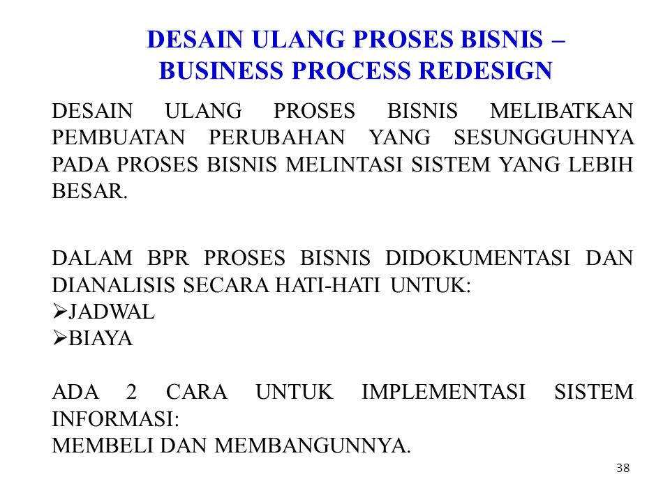 DESAIN ULANG PROSES BISNIS – BUSINESS PROCESS REDESIGN