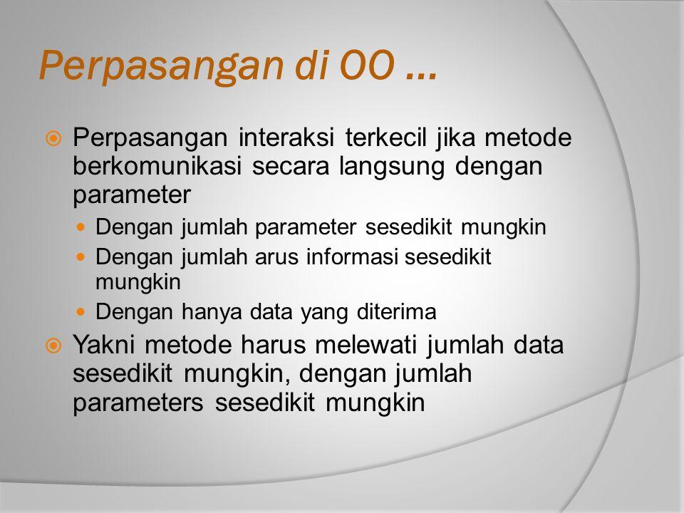 Perpasangan di OO ... Perpasangan interaksi terkecil jika metode berkomunikasi secara langsung dengan parameter.