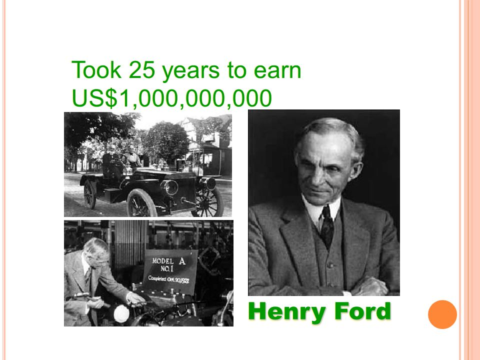 Took 25 years to earn US$1,000,000,000 Henry Ford To Earn US$1,000,000