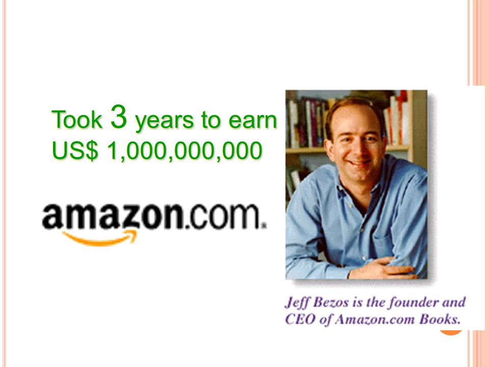 Jeff Bezos, founder of Amazon.com took 3 years.