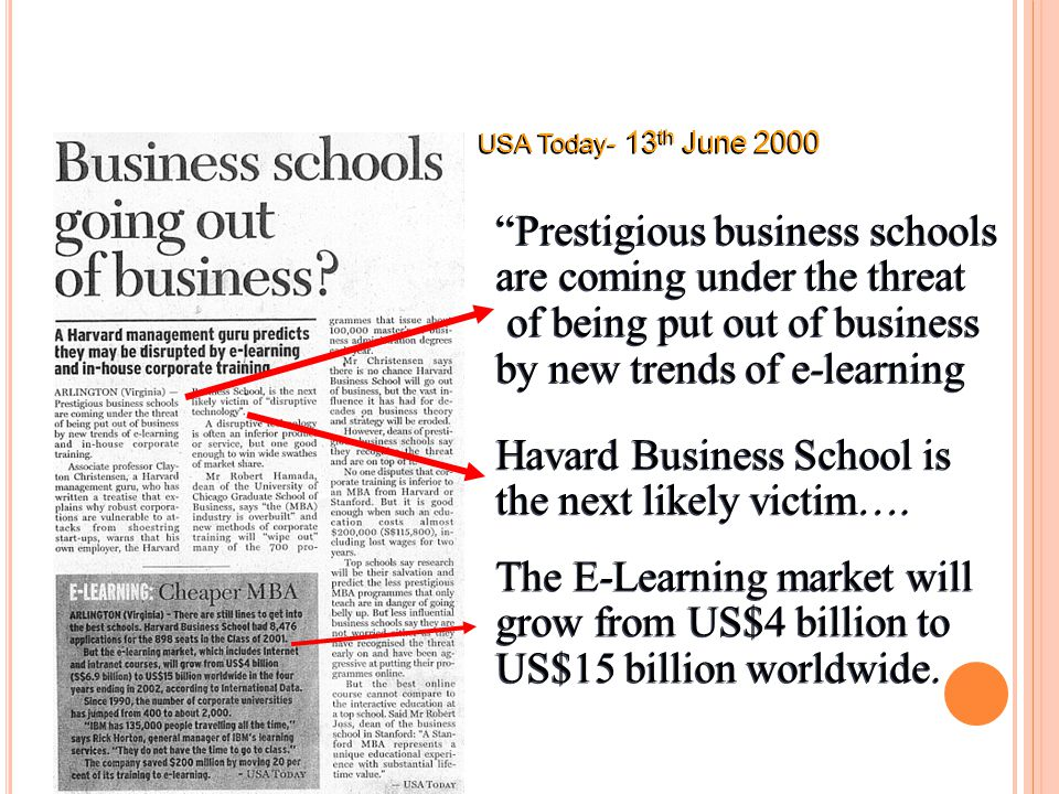 Prestigious business schools are coming under the threat