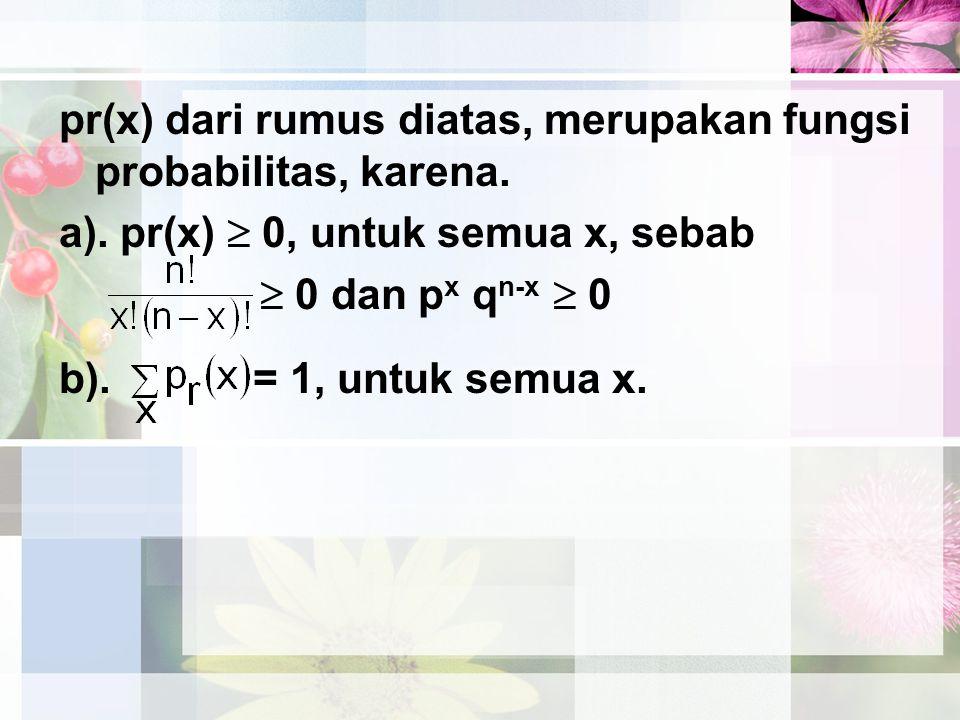 pr(x) dari rumus diatas, merupakan fungsi probabilitas, karena.