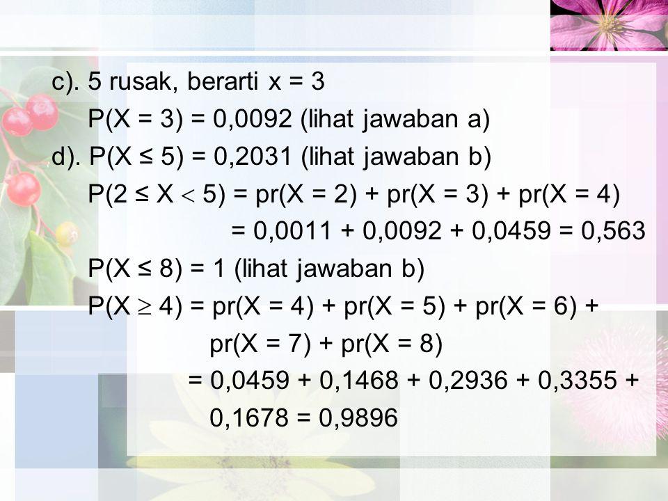 c). 5 rusak, berarti x = 3 P(X = 3) = 0,0092 (lihat jawaban a) d). P(X ≤ 5) = 0,2031 (lihat jawaban b)