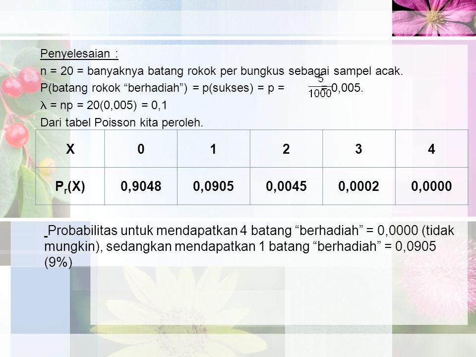 Penyelesaian : n = 20 = banyaknya batang rokok per bungkus sebagai sampel acak. P(batang rokok berhadiah ) = p(sukses) = p = = 0,005.