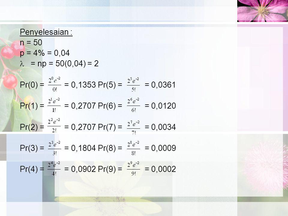 Penyelesaian : n = 50. p = 4% = 0,04. = np = 50(0,04) = 2. Pr(0) = = 0,1353 Pr(5) = = 0,0361.