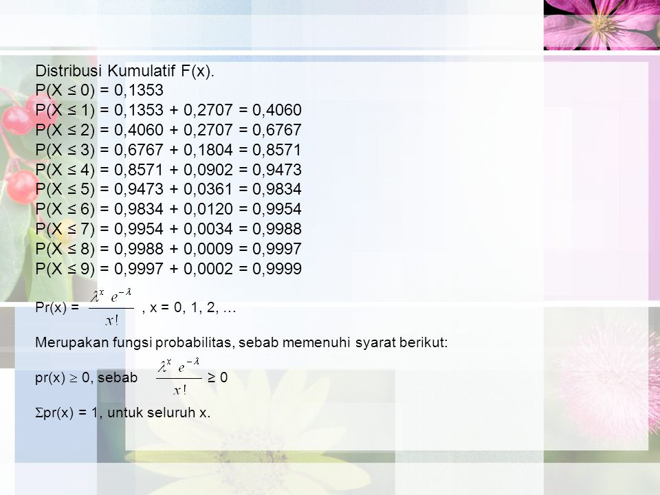 Distribusi Kumulatif F(x). P(X ≤ 0) = 0,1353