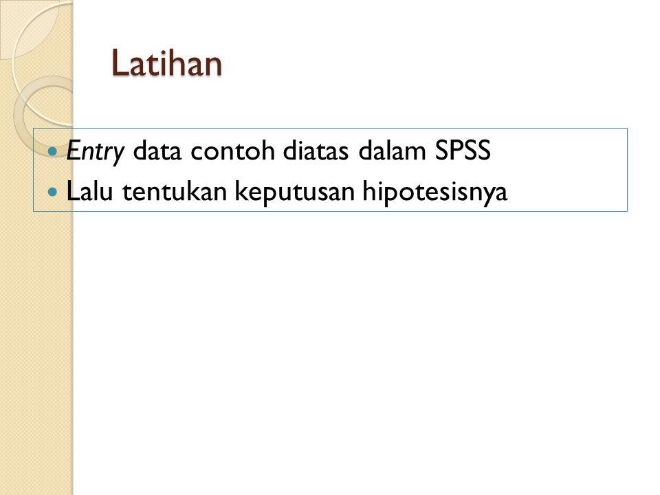 Latihan Entry data contoh diatas dalam SPSS