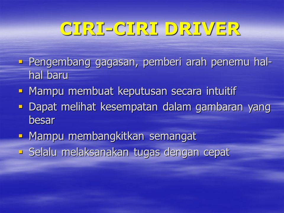 CIRI-CIRI DRIVER Pengembang gagasan, pemberi arah penemu hal-hal baru