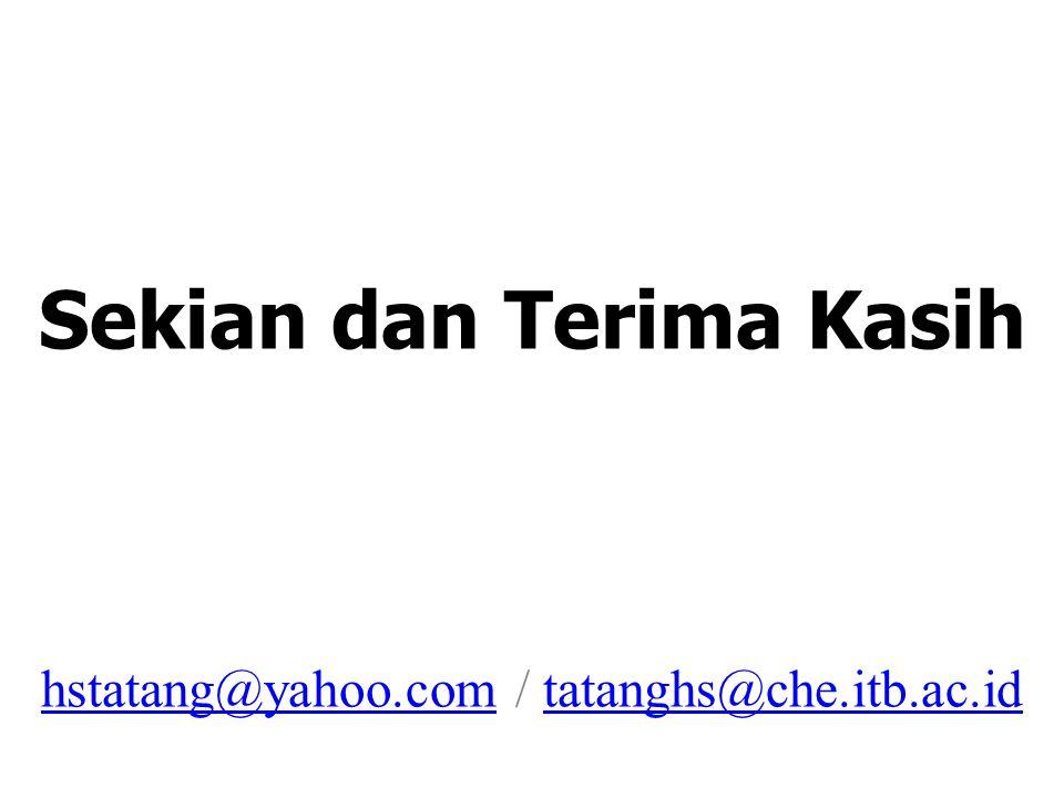 Sekian dan Terima Kasih hstatang@yahoo.com / tatanghs@che.itb.ac.id