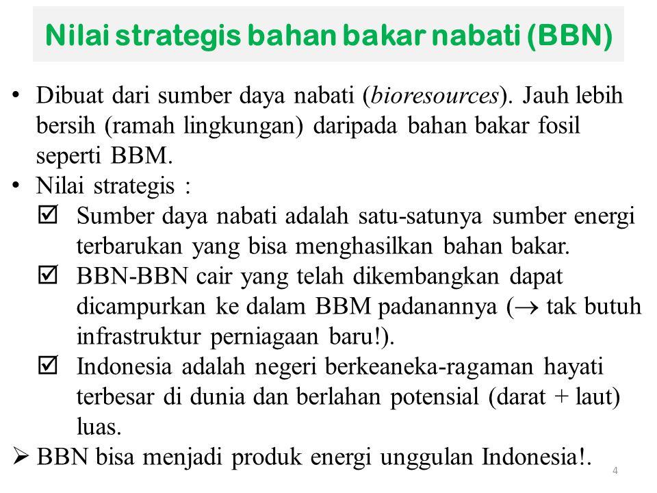 Nilai strategis bahan bakar nabati (BBN)