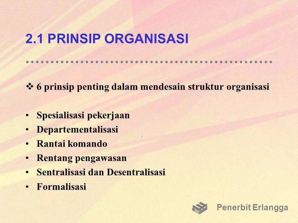 2.1 PRINSIP ORGANISASI 6 prinsip penting dalam mendesain struktur organisasi. Spesialisasi pekerjaan.
