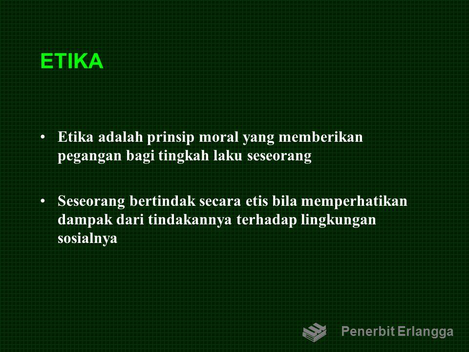 ETIKA Etika adalah prinsip moral yang memberikan pegangan bagi tingkah laku seseorang.
