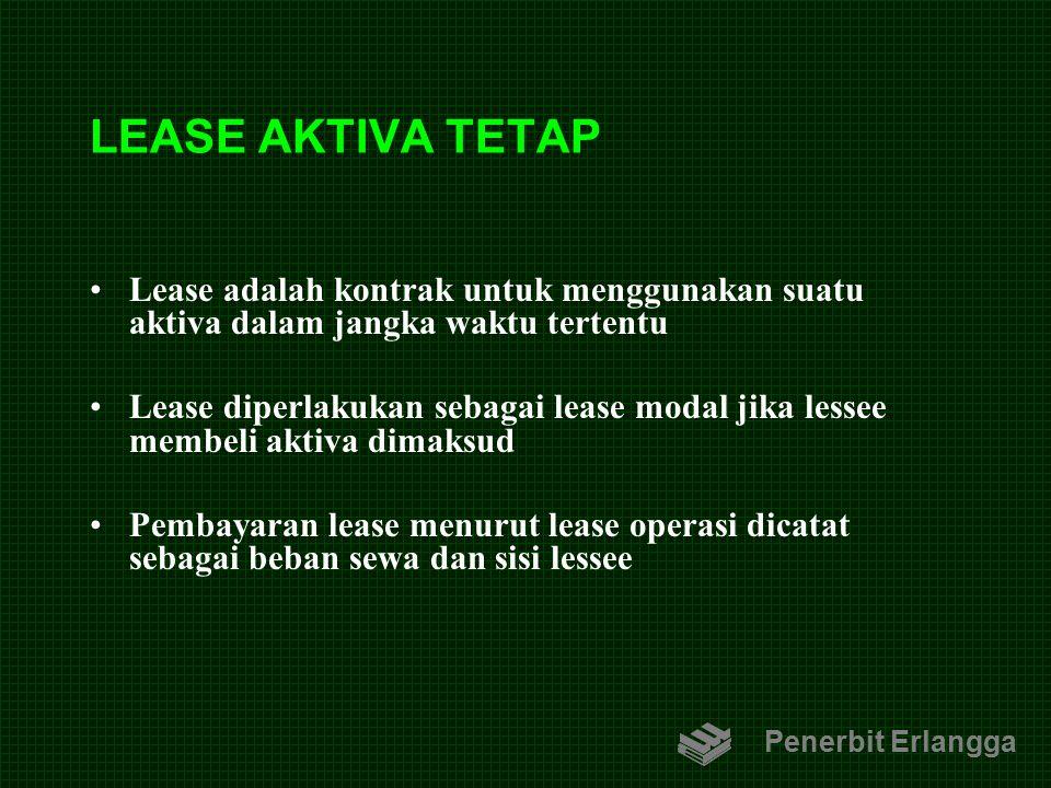 LEASE AKTIVA TETAP Lease adalah kontrak untuk menggunakan suatu aktiva dalam jangka waktu tertentu.