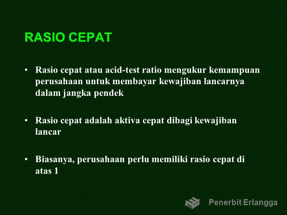 RASIO CEPAT Rasio cepat atau acid-test ratio mengukur kemampuan perusahaan untuk membayar kewajiban lancarnya dalam jangka pendek.