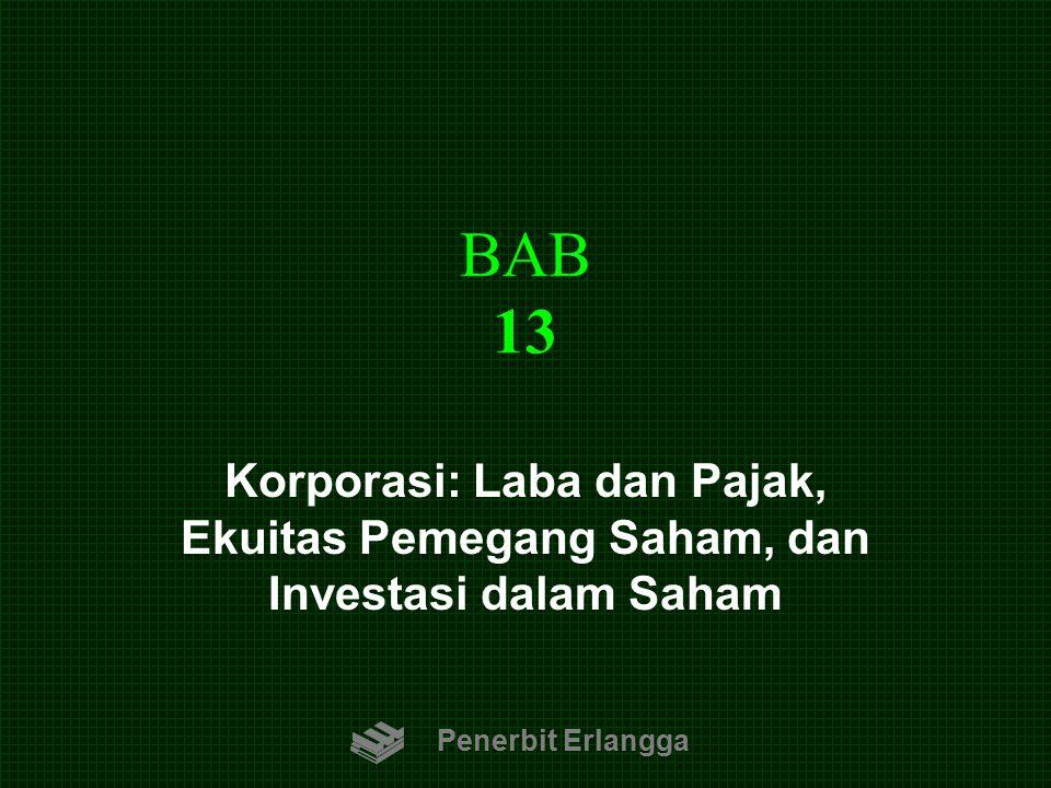 BAB 13 Korporasi: Laba dan Pajak, Ekuitas Pemegang Saham, dan Investasi dalam Saham.