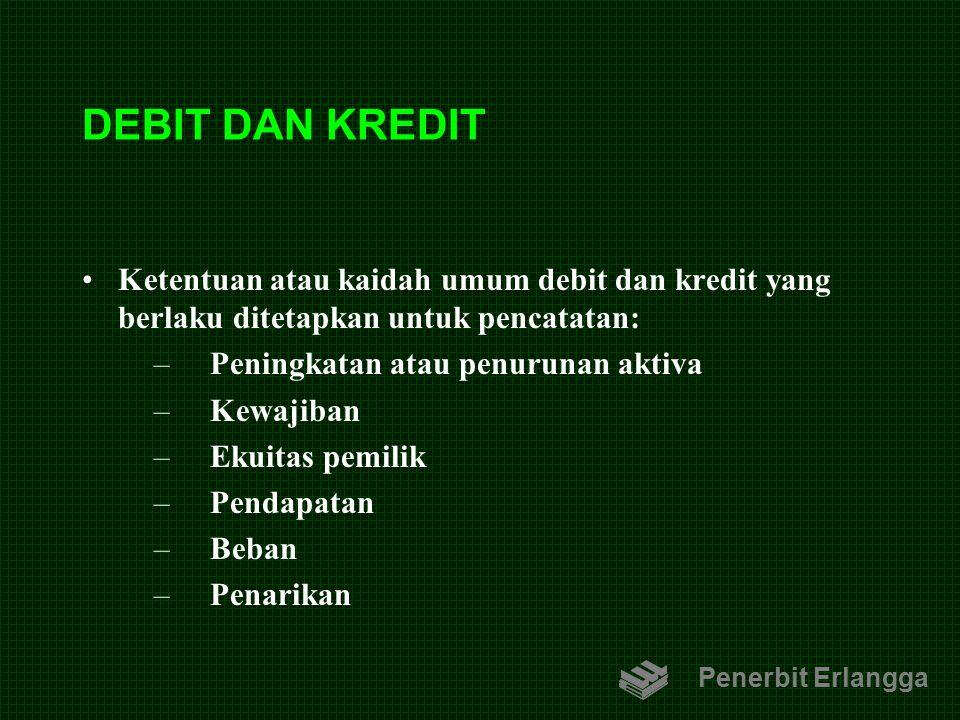 DEBIT DAN KREDIT Ketentuan atau kaidah umum debit dan kredit yang berlaku ditetapkan untuk pencatatan: