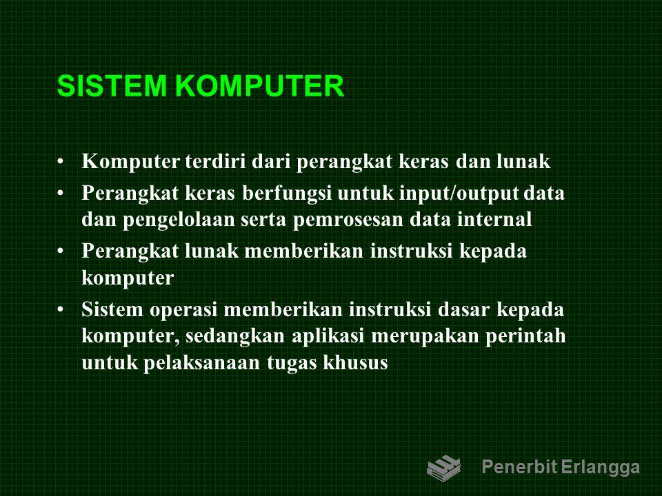 SISTEM KOMPUTER Komputer terdiri dari perangkat keras dan lunak