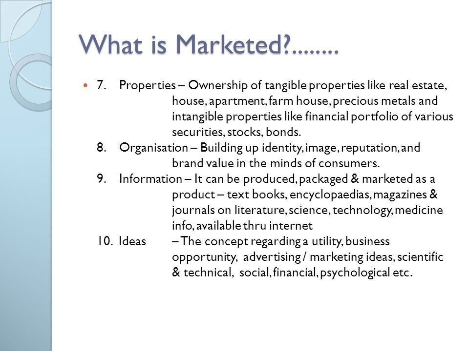 What is Marketed ........