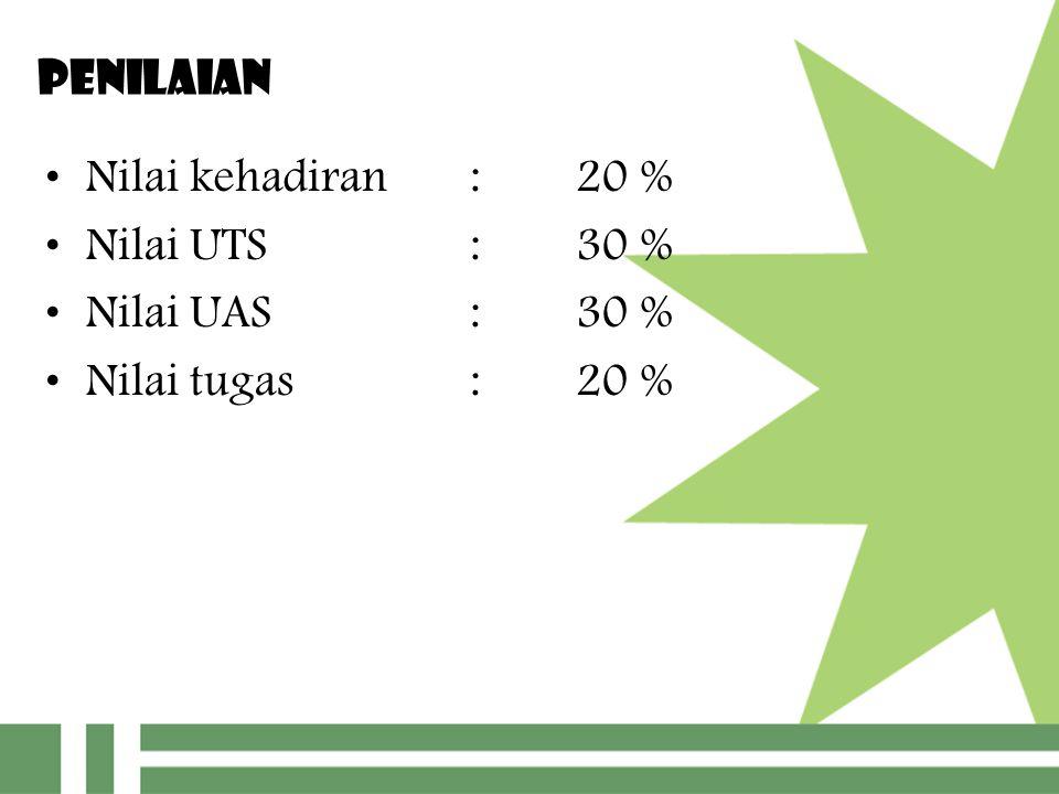 PENILAIAN Nilai kehadiran : 20 % Nilai UTS : 30 % Nilai UAS : 30 % Nilai tugas : 20 %