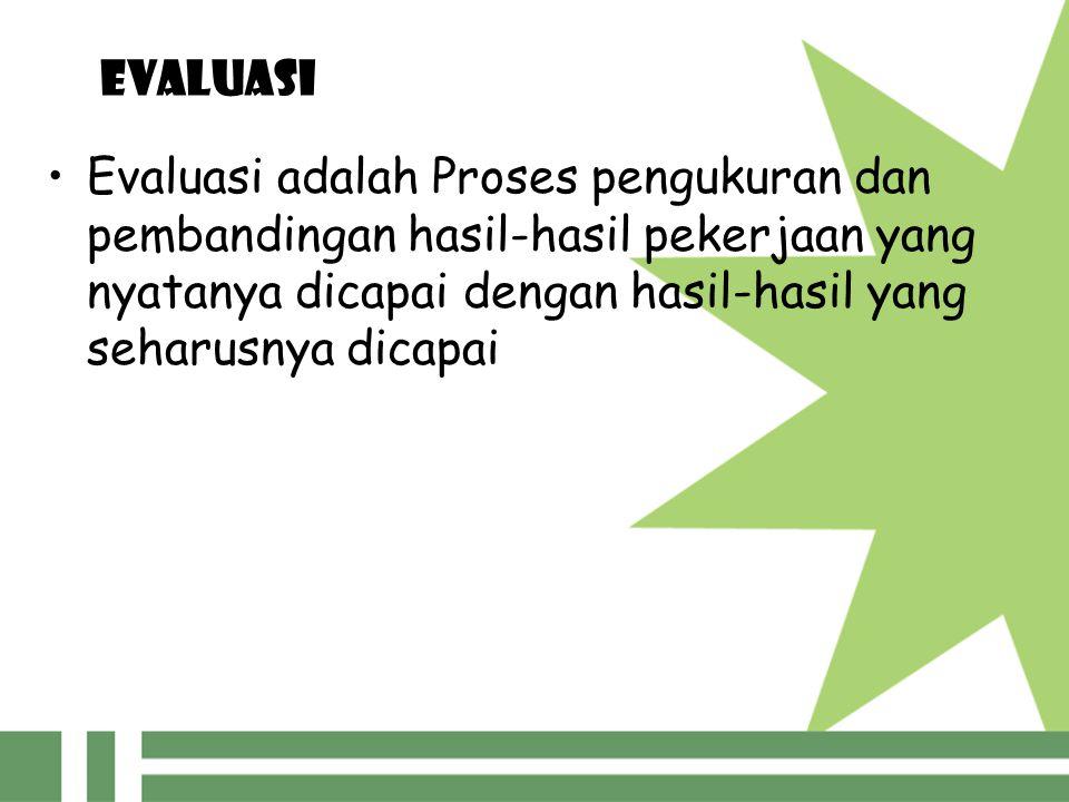 EVALUASI Evaluasi adalah Proses pengukuran dan pembandingan hasil-hasil pekerjaan yang nyatanya dicapai dengan hasil-hasil yang seharusnya dicapai.