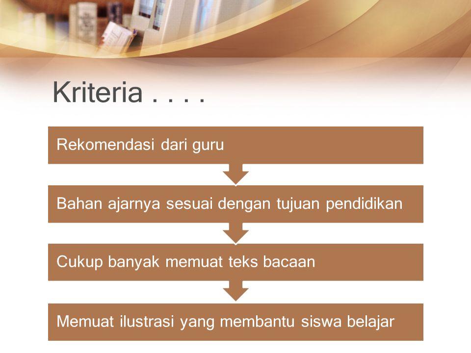 Kriteria . . . . Rekomendasi dari guru