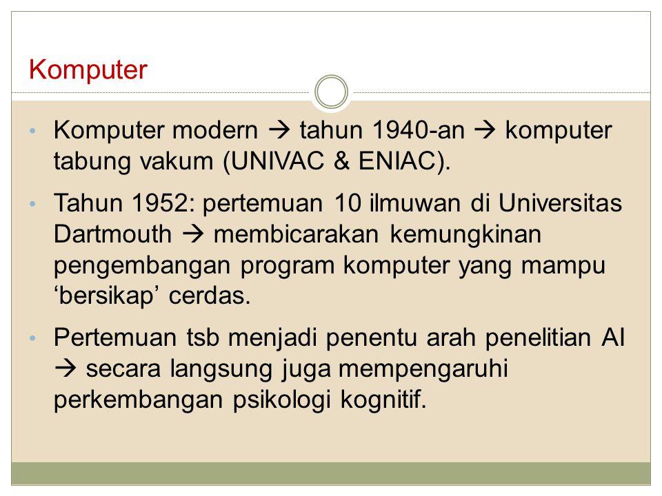 Komputer Komputer modern  tahun 1940-an  komputer tabung vakum (UNIVAC & ENIAC).