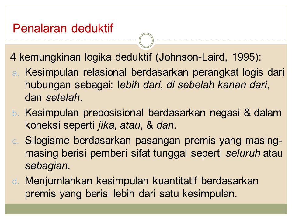 Penalaran deduktif 4 kemungkinan logika deduktif (Johnson-Laird, 1995):