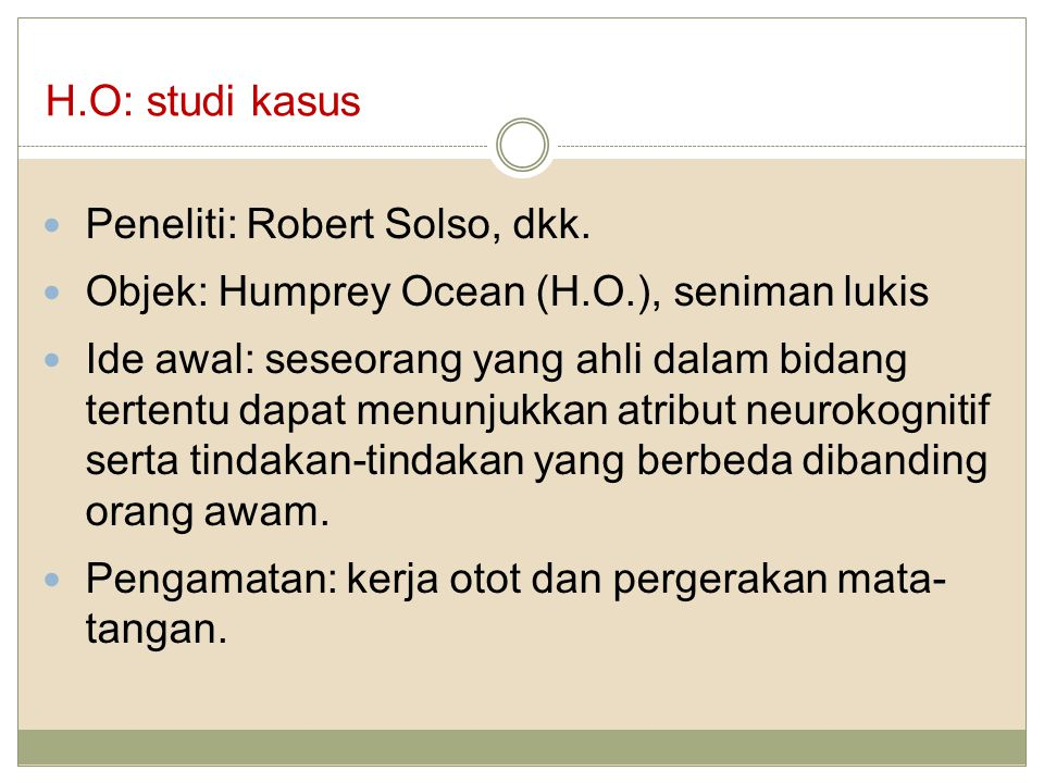 H.O: studi kasus Peneliti: Robert Solso, dkk.
