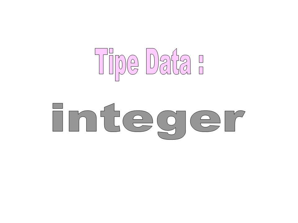 Tipe Data : integer