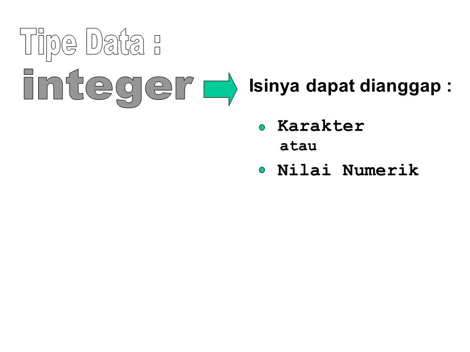 Tipe Data : integer Isinya dapat dianggap : Karakter Nilai Numerik