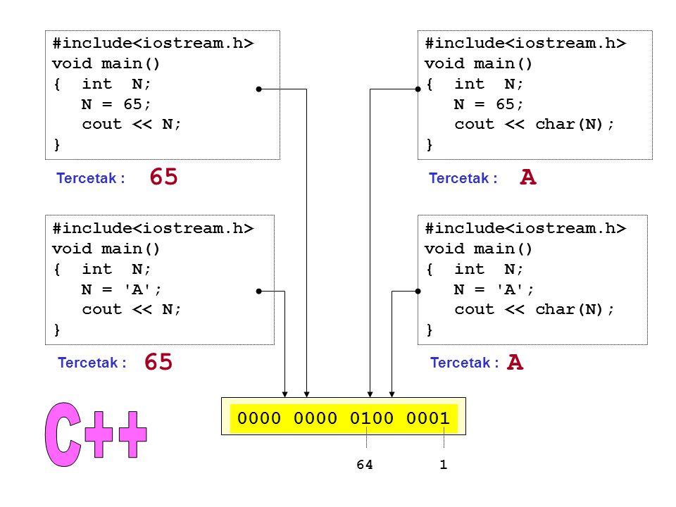 C++ 65 A 65 A 0000 0000 0100 0001 #include<iostream.h>