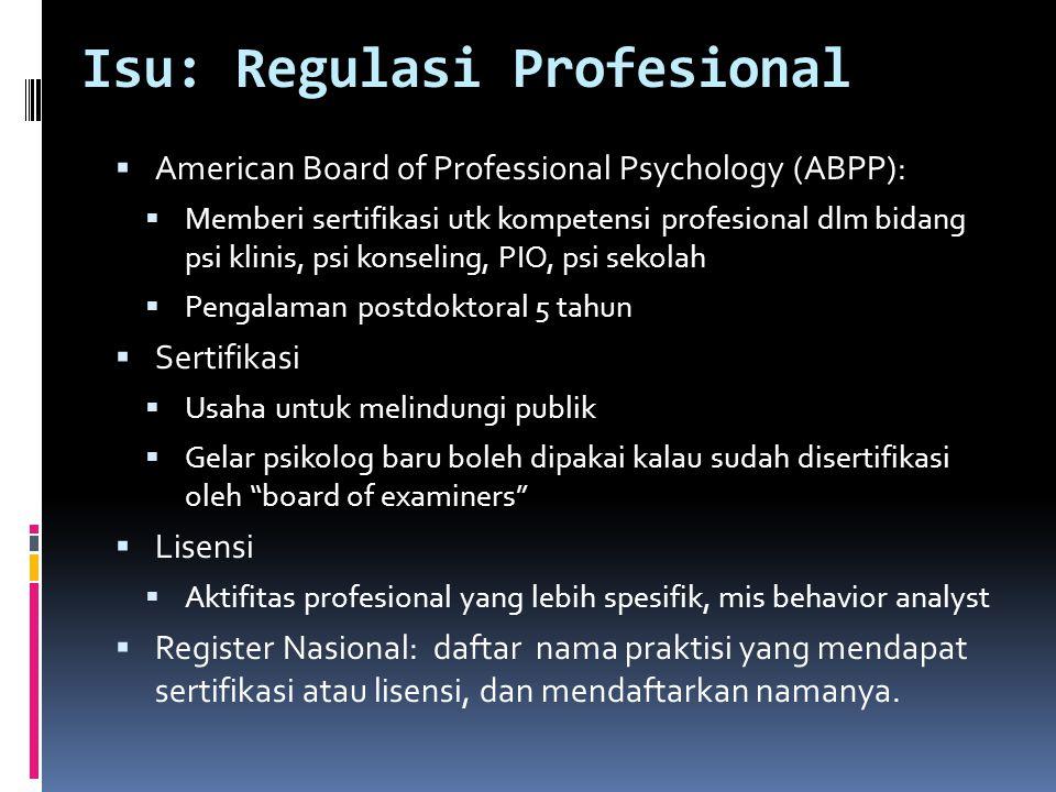 Isu: Regulasi Profesional