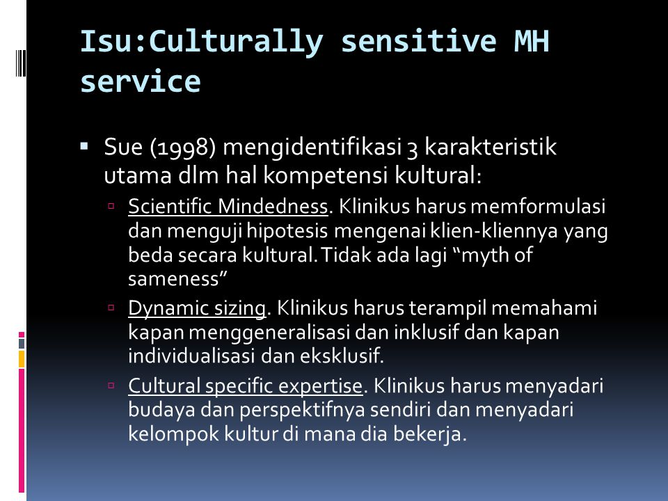 Isu:Culturally sensitive MH service