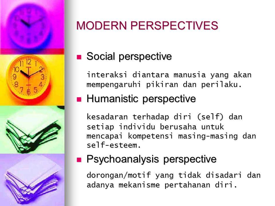 MODERN PERSPECTIVES Social perspective. interaksi diantara manusia yang akan mempengaruhi pikiran dan perilaku.