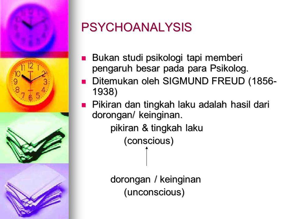 PSYCHOANALYSIS Bukan studi psikologi tapi memberi pengaruh besar pada para Psikolog. Ditemukan oleh SIGMUND FREUD (1856-1938)