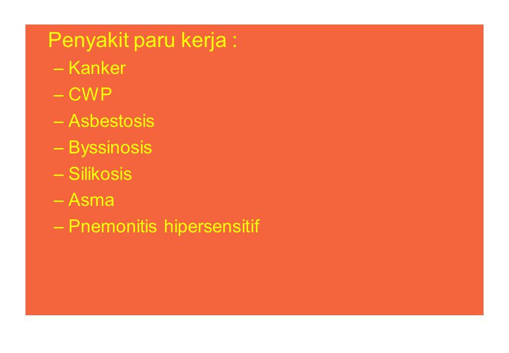 Penyakit paru kerja : Kanker CWP Asbestosis Byssinosis Silikosis Asma