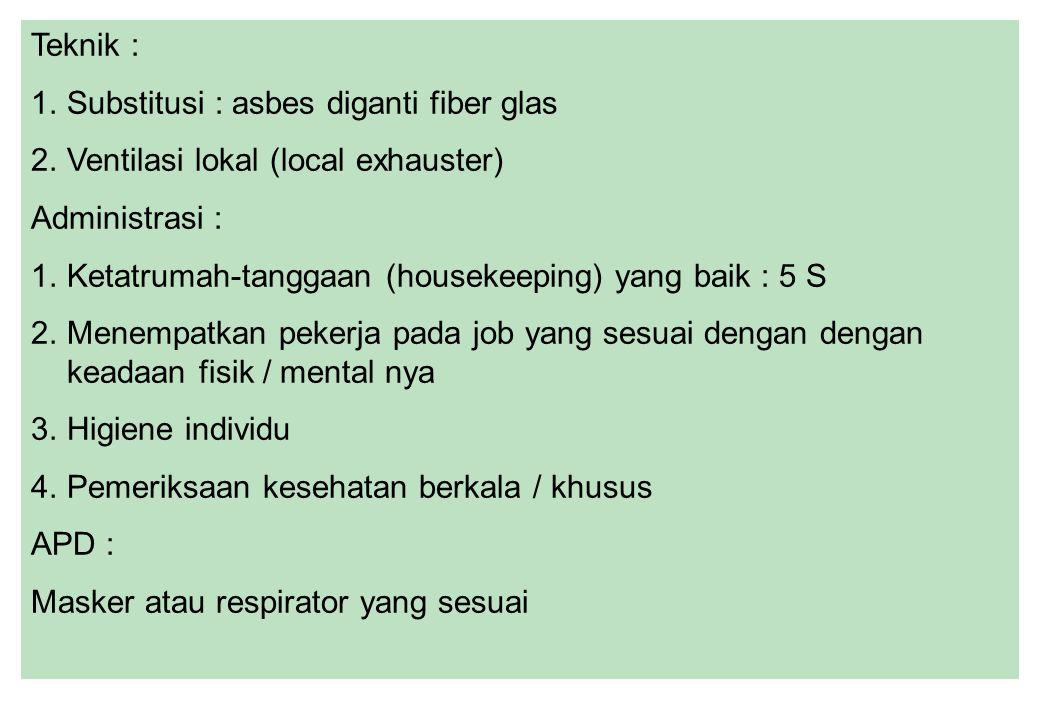 Teknik : Substitusi : asbes diganti fiber glas. Ventilasi lokal (local exhauster) Administrasi :