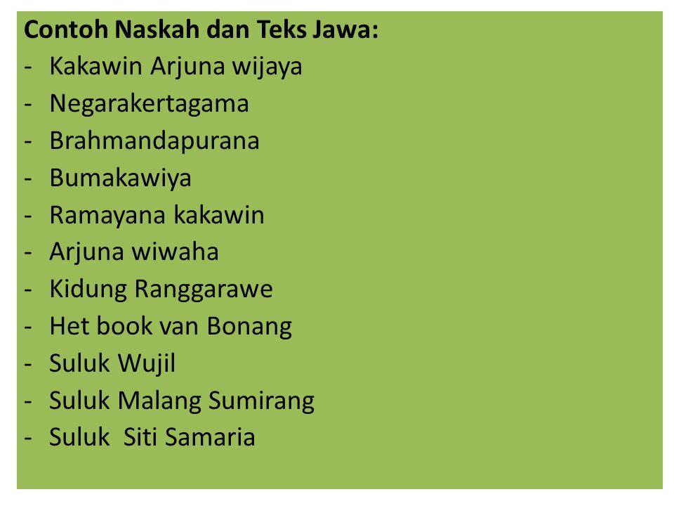 Contoh Naskah dan Teks Jawa:
