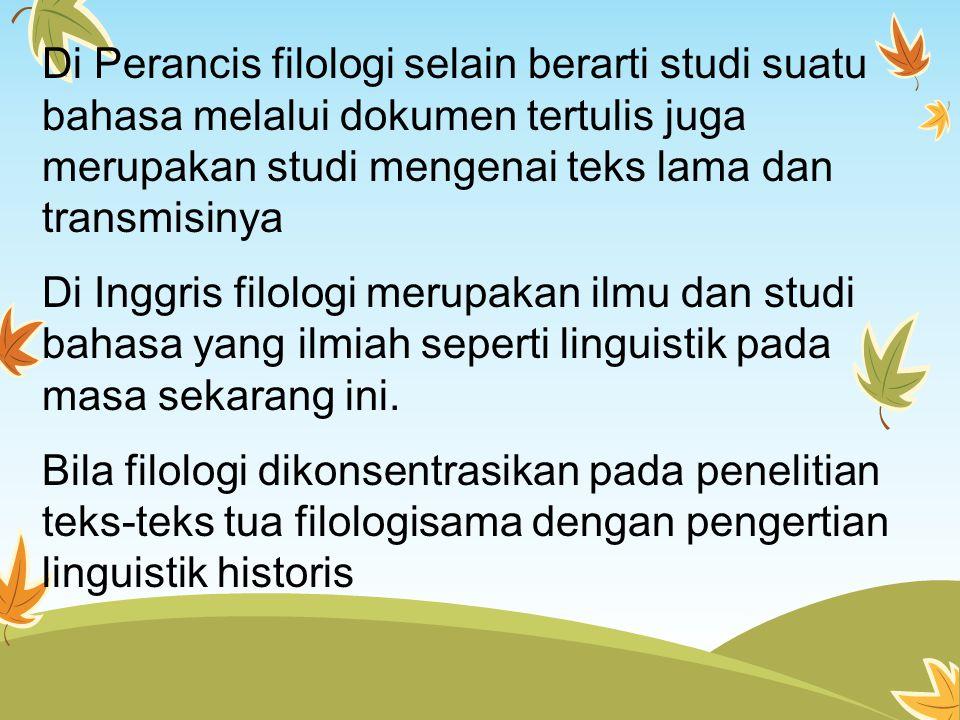 Di Perancis filologi selain berarti studi suatu bahasa melalui dokumen tertulis juga merupakan studi mengenai teks lama dan transmisinya Di Inggris filologi merupakan ilmu dan studi bahasa yang ilmiah seperti linguistik pada masa sekarang ini.