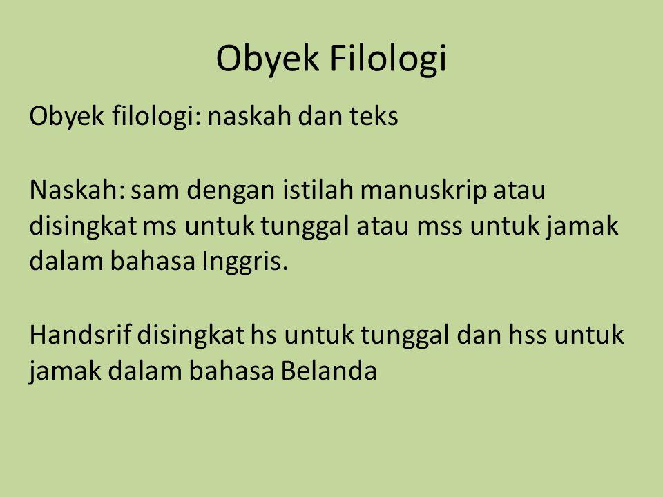 Obyek Filologi