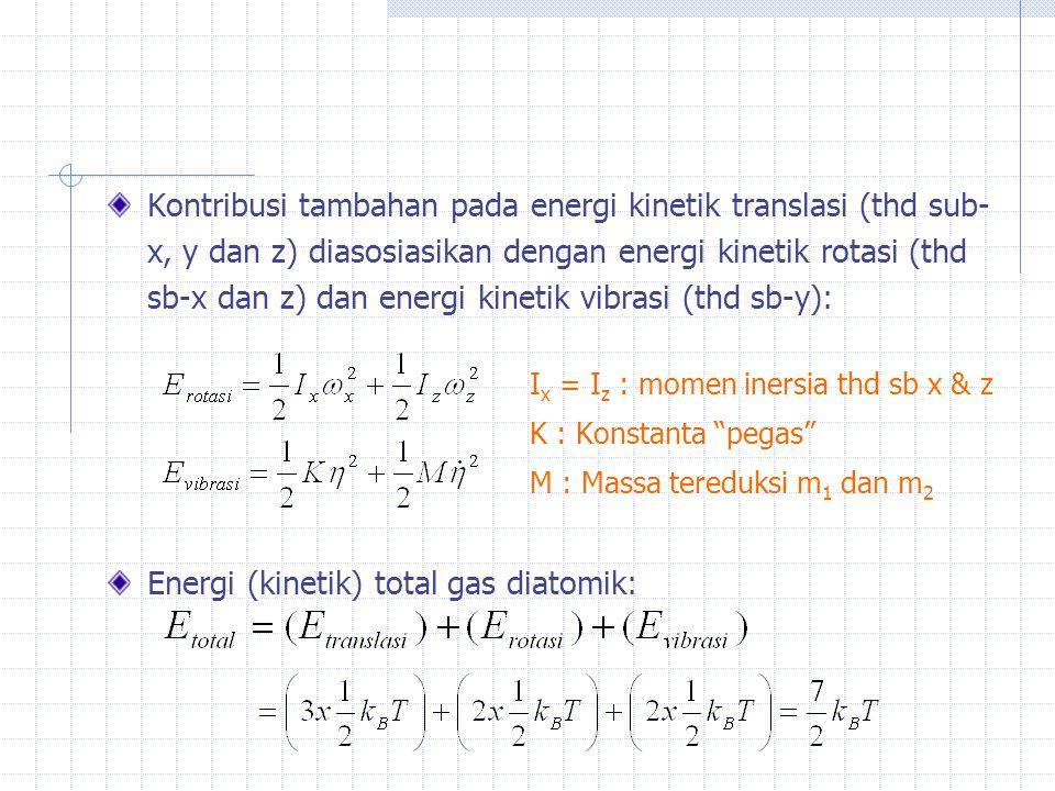 Energi (kinetik) total gas diatomik: