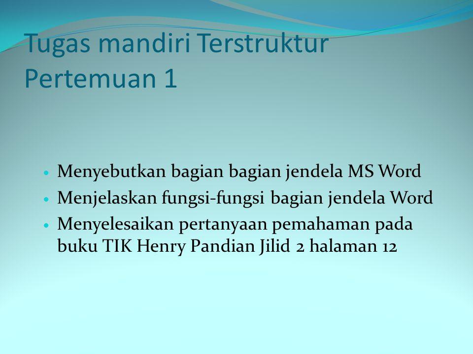 Tugas mandiri Terstruktur Pertemuan 1