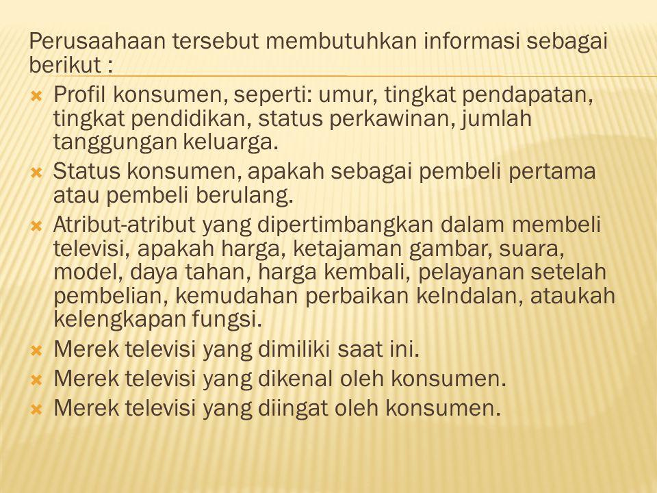 Perusaahaan tersebut membutuhkan informasi sebagai berikut :
