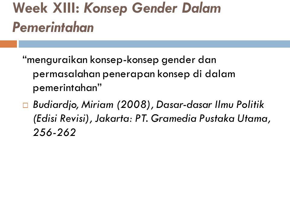 Week XIII: Konsep Gender Dalam Pemerintahan